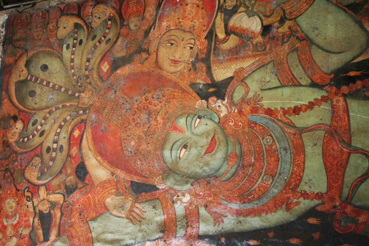 Ettumanur, Tempio di Śiva: pittura del XVI sec. raffigurante Viṣṇu sul serpente Ananta e la sposa Lakṣmī